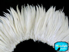 4 Inch Strip - NATURAL WHITE Strung Rooster Neck Hackle Feathers