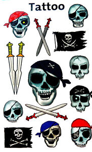 Temporary Pirate & Skull Tattoos for children / kids 56632