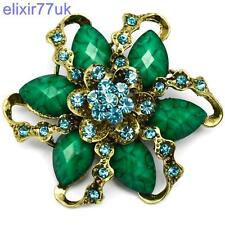 "2.8"" LARGE GOLD FLOWER VINTAGE GREEN BROOCH TURQUOISE RHINESTONE CRYSTALS BROACH"