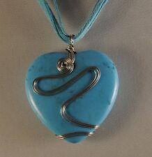 Turquoise Howlite Gemstone Filigree Heart Pendant Necklace