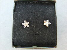 Diamond 18ct Gold Stud Earrings - Floral Pattern NEW