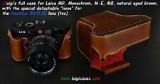 LUIGI's FULL CASE for LEICA M9,MONOCHROM1,M-E,M8,FITS NOCTILUX 0.95,NATURAL AGED