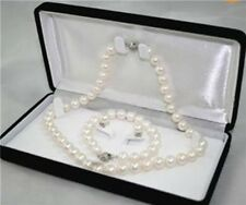 Natural AAA 7-8MM White Akoya Cultured Pearl Necklace Bracelet Earring Set