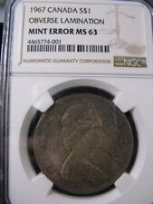 **1967**NGC Graded Canadian  Silver Dollar**Lamination Error** MS-63