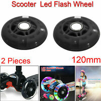 Pair 120mm Scooter LED Flash Light Up Wheel Push REAR ABEC-7 Razor Stunt Wheels