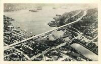 Aerial View Fremont Bridge Union Seattle Washington RPPC Photo Postcard 20-4164