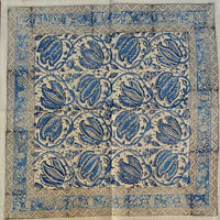 Vegetable Dye Hand Block Print Floral Napkins Table Linen Cotton Beautiful Blue