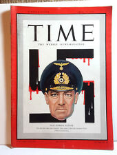 Apr 20,1942 TIME Magazine- Nazi Admiral Raeder on Cover- News/Photos/Ads  VG