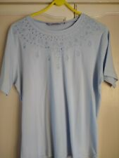 Womens Honor Millburn light blue t-shirt with embroidered detail ~ size 14-16
