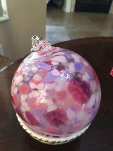 """Friendship Ball Blue/Pink - Blown Art Glass Window Suncatcher Ornament Bulb 6"""""""