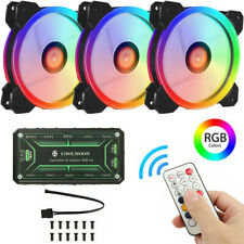 3 Pack LED Cooling Fan RGB  w/ Remote Control For Gaming Computer Case PC CPU