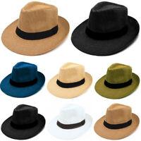 Panama Big Brim Fedora Summer Flat Brim Straw Paper Hat Cap Beach Sun Men Women