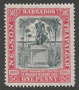 BARBADOS SG147 1906 1d BLACK & RED MTD MINT