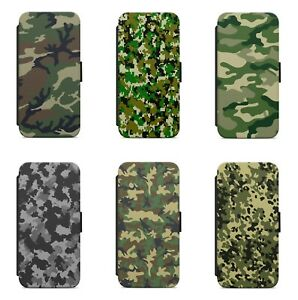 Camouflage Military Army Camo WALLET FLIP PHONE CASE COVER FOR SAMSUNG MODELS