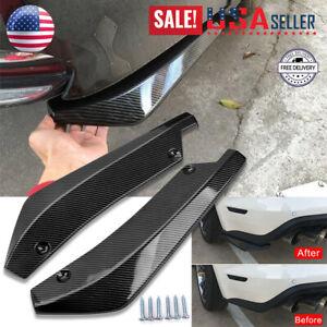 Car Bumper Fin Canard Splitter Diffuser Valence Spoiler Lip Glossy Carbon Fiber