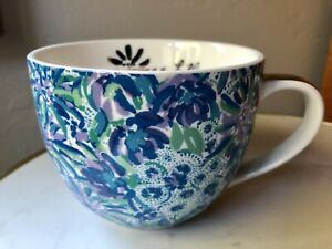 Lilly Pulitzer Ceramic Mug Floral Blue with Gold Handle 12 ounce