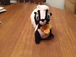"Vintage Disney Flower Skunk - Bambi - Applause Beanie Plush - 6"""