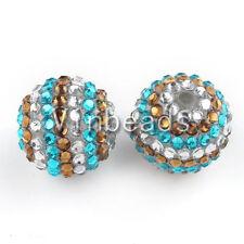 20Pcs 22mm Resin Rhinestone Bubblegum Frozen Beads For Charm Bracelet Necklace