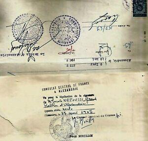EGYPT JUDAISM ISRAELITE COMMUNITY GRAND RABBINAT MARRIAGE DOC+FRANCE IMMIGR 1967