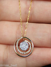 "Brand New 14k Gold White Diamond Swirl Drop Necklace Pendant W/ 17"" Chain"