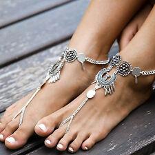 Boho Quaste Fußkette Silber Zehenring Strand Barfuß Knöchel Armband Fußschmuck