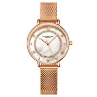 Stuhrling Ladies MOP Crystal Studded Ring Face Mesh Band Japan Quartz 34mm Watch