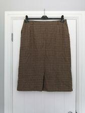 Delmod International Virgin Wool Houndstooth Brown Skirt Size 20