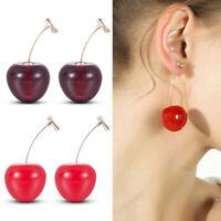 Women Cherry Resin Pendant Ear Stud Hook Drops Fruit Dangle Earring Jewelry,