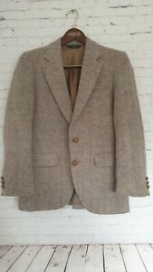Stafford Harris Tweed Jacket Size 40 R Vintage Beige Men's Great Condition