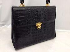 GENUINE CROCODILE SKIN Black Patent Leather Hand Bag Vintage 6D190050N