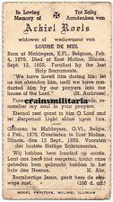 Doodsprentje Achiel Roels emigrant Amerika ° Maldegem + East Moline USA 1955