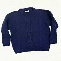 Vintage Snowfox Himalayan Hand Knit Wool Sweater Size Large Cableknit Navy Blue