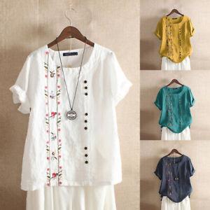 Women Summer Cotton Linen Top Tee T Shirt Decorative Buttons Solid Basic Blouse