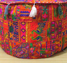 Indian Patchwork Handmade Round Stool Pouffe Home Decor Cotton Vintage Bohemian