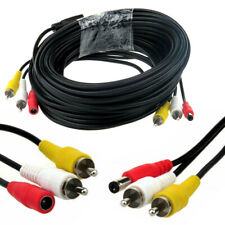 CCTV CAMERA RCA CABLE 15m Phono Audio Video AV DC Power Extension Lead Security