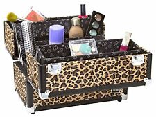 Caboodles Make Me Over 4-Tray Train Case Cheetah Leopard Cosmetics Makeup Travel