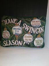 "12"" Vintage Holiday ""HAVE A SWINGIN SEASON"" Golf Sports Decorative GreenPillow"