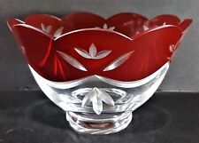 "Lenox Crystal Bowl Signed Red Cut-to-Clear 6.25"" Diameter"