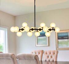 Vintage Glass Balls Black Polished Steel Dining Room Pendant Lamp Lighting