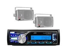 New KD-X31MBS Marine Boat Bluetooth iPod iPhone USB AUX Radio, 2 Silver Speakers