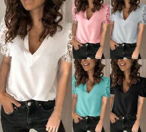 Sexy Women V Neck Shirt Lace Short Sleeve Top Ladies Blouse T-Shirt Size 6-22
