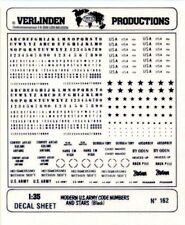 Verlinden Productions 1:35 Modern US Army Code Numbers & Stars Black Decal #162