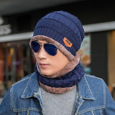 Mens Beanie Baggy Knitted Hat Warm Winter Fleece Lining Cap&Neck Scarf 2PC Set
