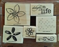 Stampin' Up DELIGHT IN LIFE Set 6 Wood Mounted Rubber Stamps Lot Flowers Phrase