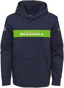 Seattle Seahawks Youth Boys Nike Sideline Pullover Hoody Sweatshirt - Navy