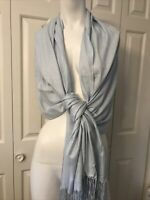 "Viscose Blend Faux Pashmina Scarf Wrap Light Blue Japan 27"" X 38"" Soft"
