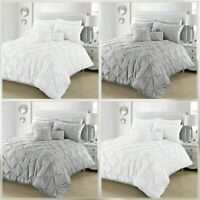 Pintuck Duvet Cover Set With Pillowcases Pinch Pleat Bedding Sets Double King SK