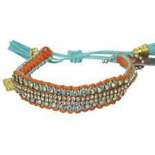 "Rose Gonzales ""Vanessa"" Surf Collection Woven Bracelet Aquamarine & Orangesicle"
