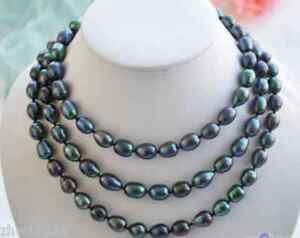 New 8-9mm New Cultured Black Natural Rice Pearl Necklace Long 18-48'' AAA