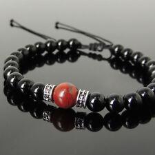 Men's Braided Bracelet Black Onyx Red Jasper 925 Sterling Silver Spacers 1210M